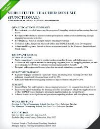 Teaching Resume Examples Substitute Teacher Resume Sample Functional