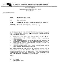 Correspondence Re Thomas Woznicki Personal And Sick Leave New