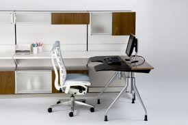 ... Cool Home Office With Herman Miller Computer Desk : Dazzling Decorating  Ideas Using Rectangular Brown Wooden ...