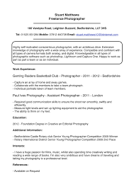 Photography Resume Examples Photographer Sample Stuart Matthews Cv