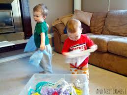 checking bin tissue paper sensory bin and next comes l