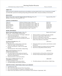 8 Sample Nursing Student Resumes Sample Templates