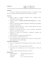 Testing Fresher Resume 1 Information Technology Management