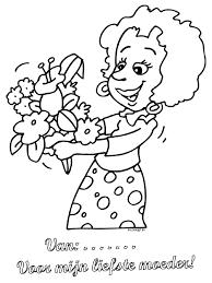 Kleurplaat Moederdag Bloemen Mama Kleurplatennl