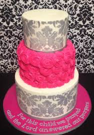 Grey damask and hot pink rosette baby shower cake | cakes ...