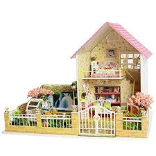 now ogrmar wooden dollhouse miniatures diy house kit with led light cherry love 62043