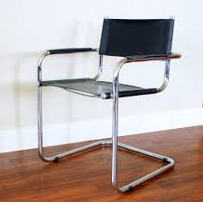 mid century chrome and leather chairs. one of two these around the table would be nice. bauhaus style chair vintage mid century chrome and leather chairs 0