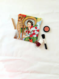 mexican makeup bag cosmetic bag mexican fabric alexander henry exotic plant print pin up retro print toiletry bag wash bag