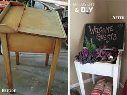 school desk repurposed as a plant stand repurpose desk diy
