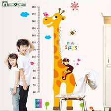 Children S Height Measurement Chart Us 5 89 Maruoxuan Cartoon Giraffe Monkey Animal Children Height Chart Measure Wall Stickers Baby Kids Room Home Decor Removable Poster In Wall