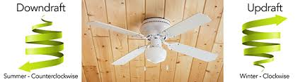ceiling fans downdraft in summer and