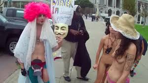 Nude girls protest pics