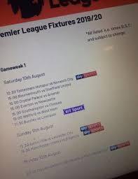 premier league 2019 20 fixtures leaked