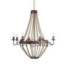 rustic metal chandelier rustic iron metal and rope chandelier
