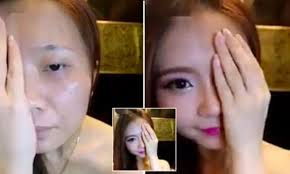 video of south korean woman using cosmetics to transform half her face goes viral daily mail