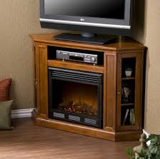 awesome caramel pentagon wooden corner tv stand featuring double side glass door with 3 tier shelves