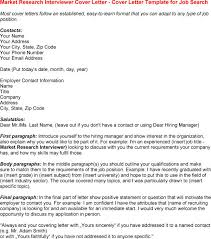 Market Research Interviewer Cover Letter Cover Letter For Market