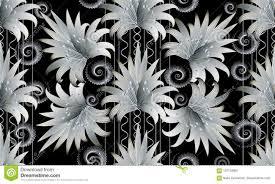 Modern Zwart Wit Bloemen Gestreept Naadloos Patroon 3d Behang Vector