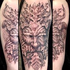 Black And Grey Celtic Green Man Tattoo By Jaesun Duggan Witch City Ink