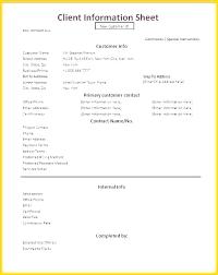Customer Contact Information Sheet Template Onedaystartsnow Co