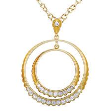 j j marco 18k yellow gold diamond double circle pendant necklace