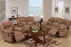 Reclining Living Room Furniture Sets Kladno 3pcmotion Recliner Living Room Set In Saddle Microfiber