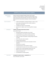 Volunteer Resume Hospital Resume Examples Volunteer Resume Template Best Resume 2