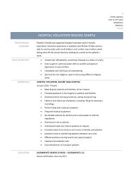 Hospital Resume Examples Volunteer Resume Template