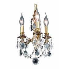 elegant lighting 3 light french gold chandelier with clear crystal