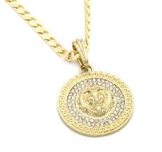 mens medallion patern lion gold plated 24 cuban curb chain pendant necklace