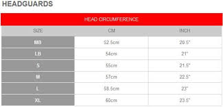 Gilbert Head Guard Size Chart Sizing Information Rugby Factory Shop