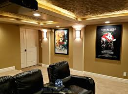 home theatre a room with textured acoustic ceiling tiles narnia ghostbusters and star wars posters and paint colours kylie m interiors