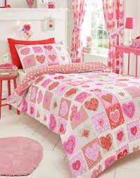 details about girls pink red reversible lace hearts flowers patchwork single duvet cover set