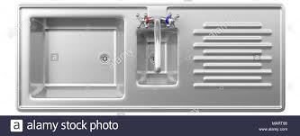 kitchen sink top view. Stainless Steel Kitchen Sink And Water Tap Isolated On White Background, Top View. 3d Illustration View