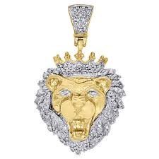 details about 10k yellow gold diamond mini king lion head crown pendant pave charm 0 50 ct