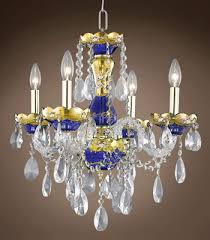 joshua marshal bohemian small cobalt crystal chandelier and coordinating wall sconce