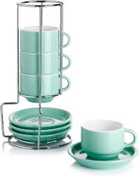 Great for serving hot coffee or espresso drinks. Stackable Coffee Cups With Saucers And Metal Stand Sweese