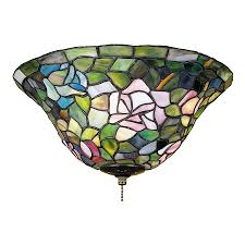 meyda tiffany rosebush 3 light mahogany bronze incandescent ceiling fan light kit with tiffany glass