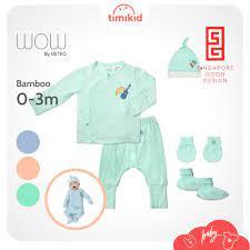 Set Đồ Sơ Sinh 5 Món Cho Bé Vải Bamboo Cao Cấp Wow by Oeteo- Set quà tặng quần  áo, mũ, bao tay, bao chân cho bé chính hãng