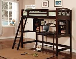 460063 Coaster Twin Wood Loft Bunk Bed with Workstation in Cappuccino Finish