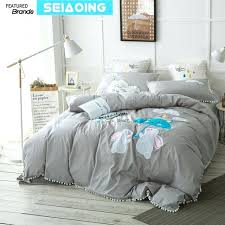 long ear rabbit bedding set queen king size grey comforter cover 4 embroidered ruffle twin