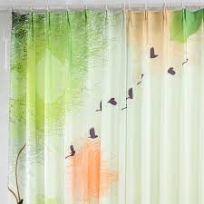 Country Style Light Green Animal Tree Bay Window Curtains