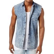 American Rag Blue Mens Size 2xl Button Down Sleeveless Denim Shirt