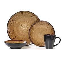 brown dinnerware sets. Contemporary Brown Gourmet Basics Linden Brown Stoneware 16piece Dinnerware Set Service For  4 To Sets