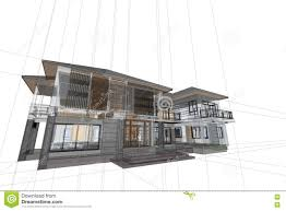 modern architecture drawing. Simple Architecture Architecture Drawing Modern House 3d Illustration Engineering Engineer For Modern Drawing N
