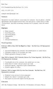 resume-template-optometrist-assistant-summary-highlights