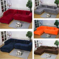 2seats 3seats plush stretch sure fit l shaped sectional sofa slip covers set ebay