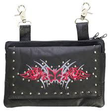 las leather purse with erfly design