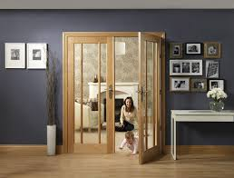 worcester internal oak rebated door pair with clear glass lifestyle roomshot