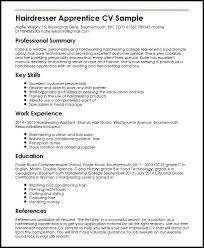 Hairdressing Resume Template Hairdresser Apprentice Cv Sample